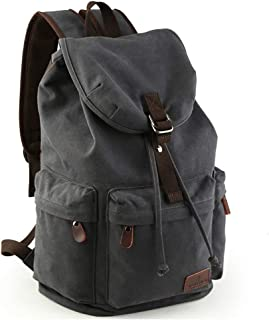 Beuniclo Canvas Backpack Travel Vintage Camping Rucksack Pack Casual Large Daypack (Grey-new)