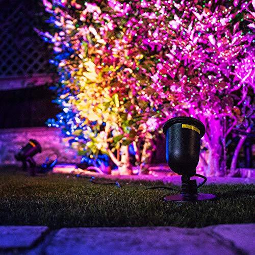 BlissLights 16 Color LED + RED Laser Projector - Indoor/Outdoor Decoration Landscape Lights for Holidays, Events, Parties, Pathways