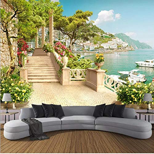 Salón de belleza Papel tapiz fotográfico 3D personalizado Jardín Balcón Escaleras Vista al lago Sala de estar 3D Sofá Dormitorio TV Fondo Mural Decoración de papel tapiz-3