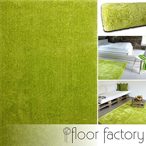 floor factory Moderner Teppich Seasons grün 120x170 cm - flauschig weicher Hochflor Teppich in aktuellen Trendfarben