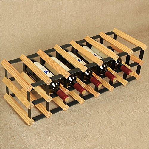 Application de décoration murale Porte-bouteilles de vin de 21 bouteilles-étagère à vin multi-fonction de plancher en bois solide étagère accrochante de gobelet Racks pour étagères (Couleur : Wood)