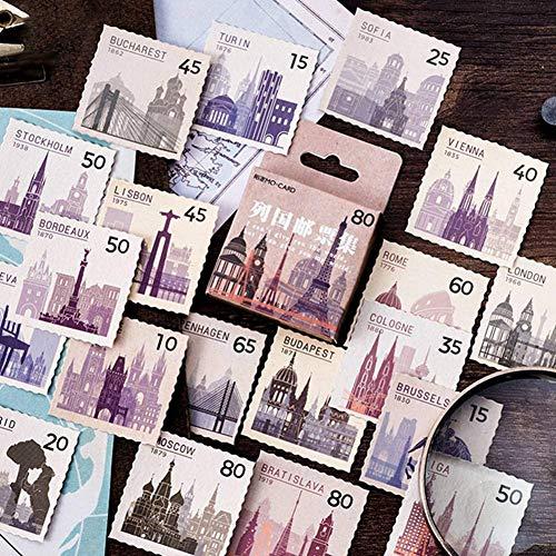 guantongda Vintage Stamp Collectie, Decoratieve Tijdschriftstickers, Scrapbooking Sticks, Etiketten, dagboeken, briefpapier voor het album, Retro stempel Stickers 1 exemplaar