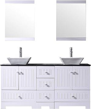 Bathjoy 60 White Double Bathroom Vanity Cabinets And Square Ceramic Vessel Sinks W Mirrors Faucet Drain Combo Amazon Com