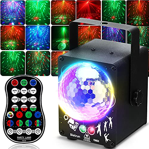 Party Stage Lights Dj Disco Lights with Sound Activated, Bietrun, Wide Range LED RGB Flash Projector Laser Revel Lights With Remote, For Karaoke, Birthday, Halloween Christmas Holiday(USB Powered)