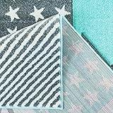 carpet city Kinderteppich Flachflor Bueno Sterne Muster Mint Türkis Konturenschnitt Glanzgarn Kinderzimmer; Größe: 160x230 cm - 5
