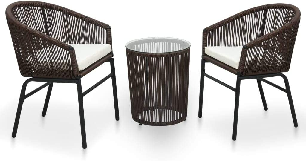 vidaXL Japan Maker New Bistro Set with New products, world's highest quality popular! Cushions 3 Patio Di Garden Outdoor Pieces