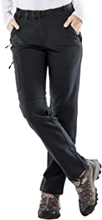 MIER Women's Fleece Lined Cargo Pants Insulated Softshell Hiking Pants with 3 Zipper Pockets, Stretchy, Black