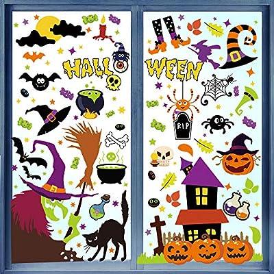 LOKIPA 423PCS Halloween Window Clings, Halloween Window Decals Stickers for Halloween Decorations