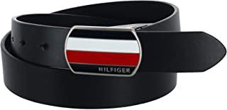 Tommy Hilfiger Men's Bridle Belt with Plaque Logo Buckle