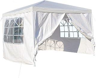 WilTec Carpa de jardín con Elementos Laterales Desmontables 3x3m Blanca con Ventanas Cenador para Exterior