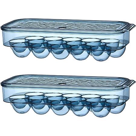 KaryHome Egg Storage Container for Refrigerator,Plastic Egg Carton Egg Holder for Fridge,2 Pack Translucent Blue