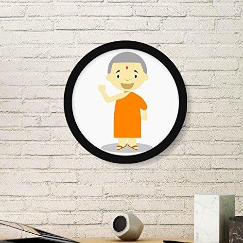 DIYthinker Oranje Jurk Monnik Nepal Cartoon Ronde fotolijst Art Prints Van Schilderijen Thuis Muursticker Gift