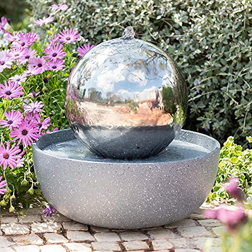 30cm Eclipse Stainless Steel Sphere Water Feature with LED lights by Ambiente