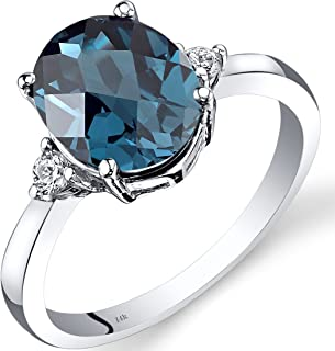 14K White Gold London Blue Topaz Diamond Ring 2.75 Carat Oval Cut