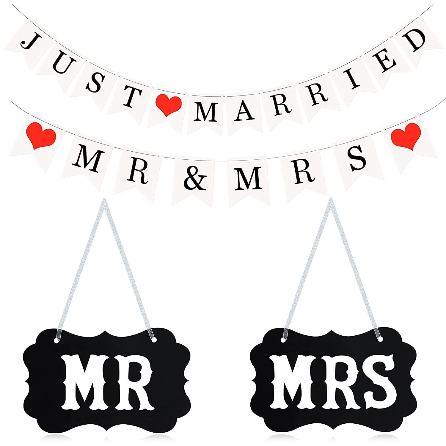 4 Pieces Wedding Bunting Banner, Mr Mrs Chair Bunting Banner Just Married Banner Mr and Mrs Banner Wedding Banner Bunting Photo Booth Props Garland for Bridal Shower Wedding and Engagement Party
