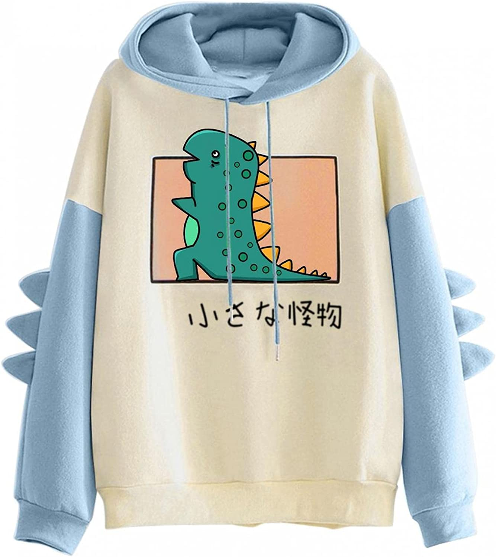 Teen Girls Hoodies Dinosaur Printed Cute Hooded Sweatshirt Junior Sports Blouse Long Sleeve Hooded Pullovers Tops