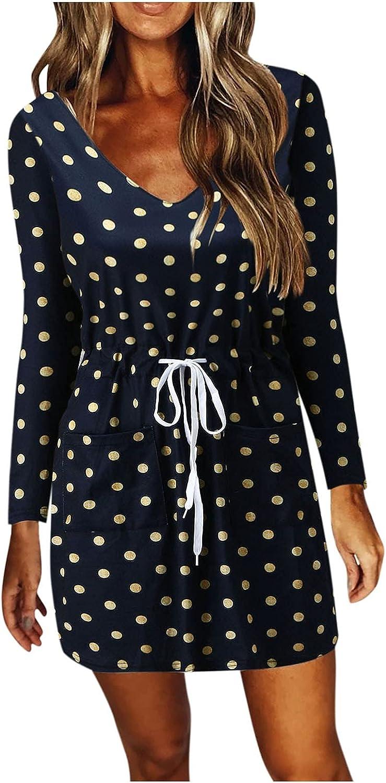 WYBAXZ Women Fall Striped Dresses Casual V-Neck Sleeveless Spaghetti Strap Splicing Sling Mini Dress with Drawstring