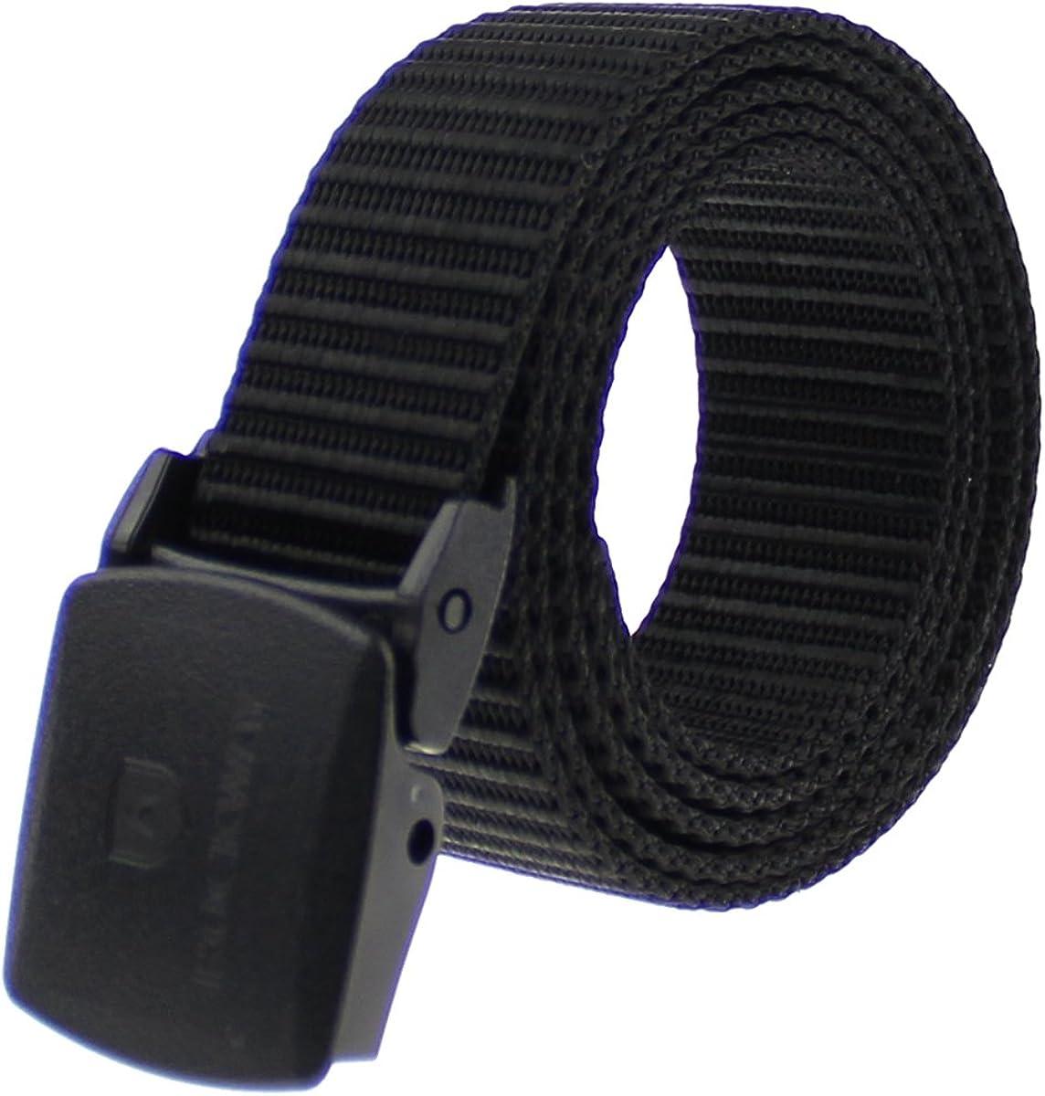 RockWay Climbing Sturdy Nylon Belt with YKK POM Buckle 1.3 Inches Wide Black Narrow Belt