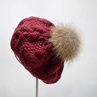JERPOZ Ms. Hat, Thick Soft Knit Hat, Textured, Warm Pullover Knitted Hats, Theatrical Style Hat, No Hat Brim Preparation, Containing A Stretch Yarn (Color : E)