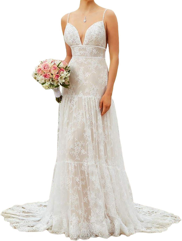 Tsbridal Women V Neck Bohemian Wedding Dresses Spaghetti Straps Lace Wedding Dress Beading Beach Bridal Gowns