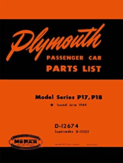 bishko automotive literature 1949 Plymouth P17 P18 Parts Numbers Book List Guide Interchange Illustrations