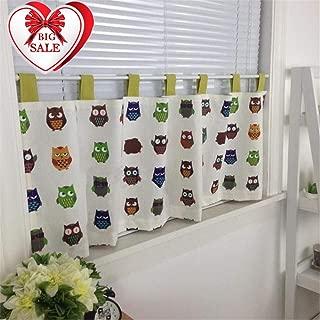 Abreeze Cotton Linen Cafe Curtain Kitchen Curtain Valances Short Window Curtain with Cartoon Owl Pattern, 55