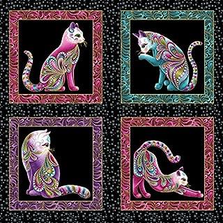 Colorful Cat Panel, Paisley, Beads, Cat-I-Tude, Ann Lauer, Benartex (23-inch)