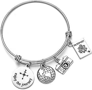 ODLADM Global Travel Bracelets - Expandable Wire Bangle Enjoy The Journey Passport Charms DIY Jewelry