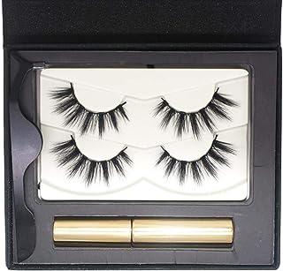 Magnetic Eyeliner and Lashes Kit - Hamkaw Natural Full Eye Magnet Eyelashes Ultra Thin Reusable 3D Fake Eyelashes with Waterproof Liquid Eyeliner for All Day Wearing