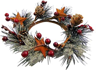 Westman Works Large Christmas Candle Ring with Red Berries and Rustic Metal Stars Holiday Home Decor Wreath