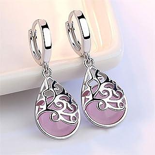 Beiswe 1 Pair 925 Sterling Silver Hypoallergenic Earring Moonlight Opal Tears Drop Earrings for Women Charm Gift (Pink)