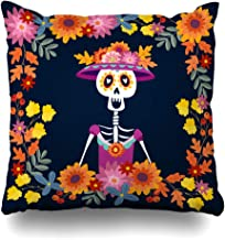 KJONG Dia De Muertos Mariachi Band of Skeletons Zippered Pillow Cover,18 x 18 inch Square Decorative Throw Pillow Case Fas...