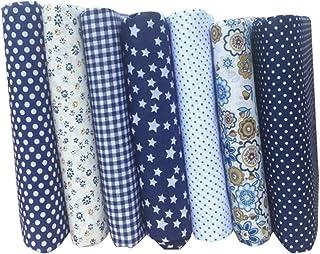 Tecido de algodão feito à mão pequeno floral feito à mão, tecido de algodão azul escuro, tecido têxtil, material de patchw...