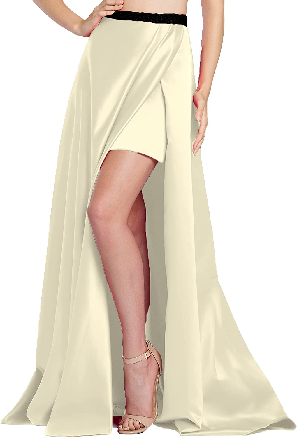 Gothic Maxi Satin Party Wear Casual Skirt One Side Slit Skirt Belly Dance One Size S77