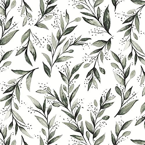 """Olive Leaf Peel and Stick Wallpaper Floral Wallpaper 17.7""""x78.7""""Modern..."""