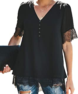 S-Fly Womens Buttons Lace Stitching V Neck Casual Short Sleeve Shirt Top Blouse