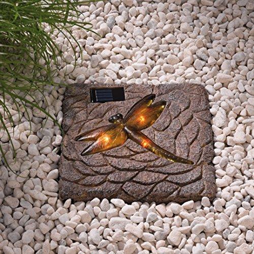 HELLUM 349023 Solar-LED-Stein aus Resin Libelle, 20 x 20 cm, LED gelb