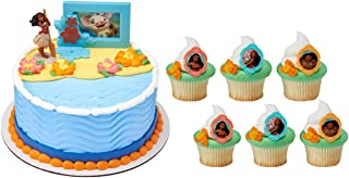 Moana Adventures in Oceana Cake Topper with 24 Moana Voyagers Cupcake Toppers and 6 Character Candles