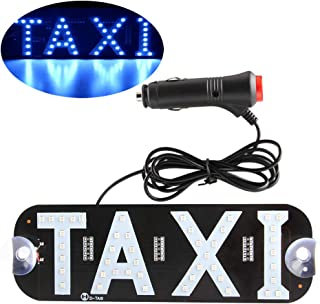 Taxi Blue LED Sign Decor, Glow LED Taxi Sign Logo Decal Stickers with Suction Cups Taxi Flashing Hook on Car Window with DC12V Car Charger Inverter