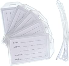 5 Pack of Premium Rigid Luggage Tag Holders with 6