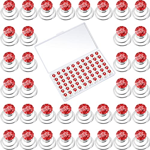 60 Stücke Strass Kristall Twister Set Spiral Haarnadel Spule für Hochzeit, Braut, Abschluss Ball, Party und Wichtige Anlässe mit Klarem Behälter (Rot)