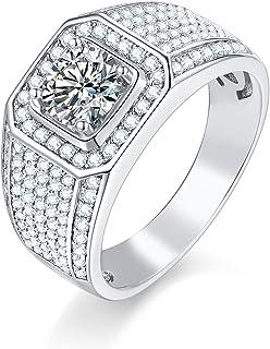 KRKC&CO 3 Carat Mens Moissanite Rings, D Color, VVS1, S925 Sterling Silver, Mens Engagement Rings, Round Brilliant Cut Rin...