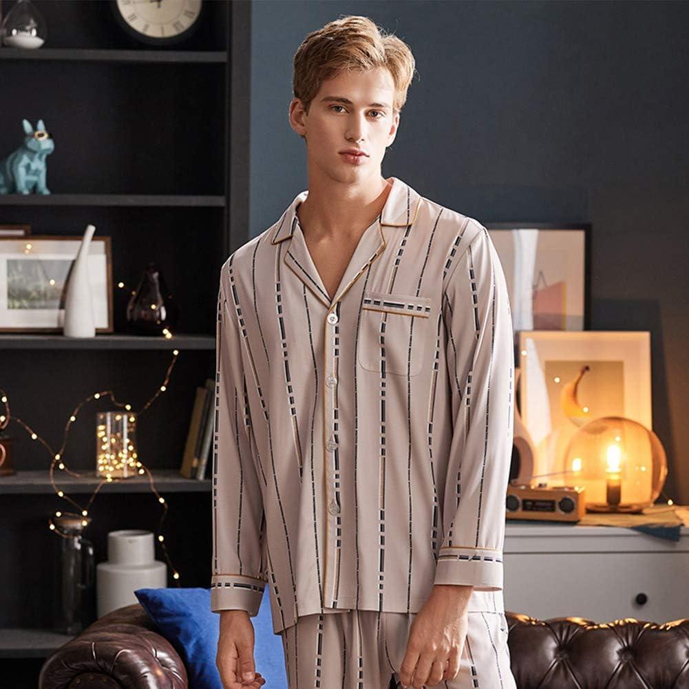 ZWLXY Men Satin Silk Pajamas Set Mens Ice Silk Pyjama Sleepwear Set Male Loungewear,A,XL