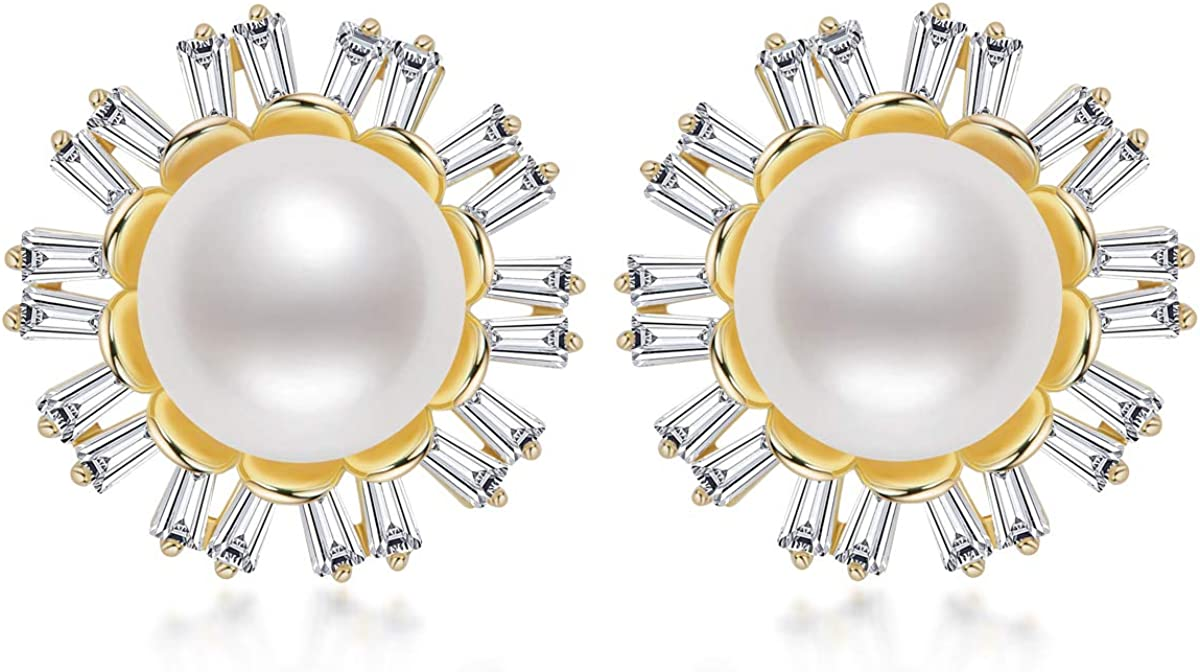 Pearl Stud Earrings for Women Freshwater Cultured Pearl Ear Studs Classic Halo Flower Style Pearl Earrings with CZ Cubic Zirconia Jewelry Gifts for Wife Girls
