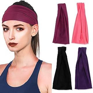 5501238a2e334e Vegena 4 Stück Stirnband Damen Elastische Einfarbig, Frauen Baumwolle  Gestrickte Stirnbänder Dehnbar Haarband Weiche Turban
