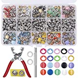 EuTengHao 804Pcs Snap Fasteners Tool Kit Hollow and Solid Metal Prong Snaps Buttons with Setting Tool for Clothing Crafting Sewing,Leather Snaps Buttons for Jeans Wears Bags(200 Sets,10 Colors,9,5mm)