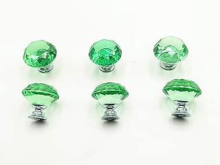LXM Diamond Shape Crystal Glass 30mm Kitchen Cabinet Door Drawer Knob Cupboard Dresser Wardrobe Pull Handle with Screws, 10pcs (Green)