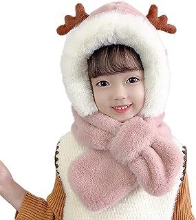 Sponsored Ad - Kids Winter Warm Hat Neckerchief Suit for Girls Boys Windproof One-Piece Children Warm with Plush Cartoon Hat