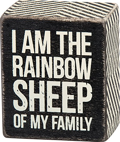 Primitives By Kathy 2.5' X 3' Wooden Box Sign: 'I Am The Rainbow Sheep In My Family' Gay Lesbian LGBT Pride