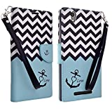 GW Compatible for ZTE ZMAX Z970 Case -Slim Magnetic Wallet Leather Flip Cover Case for ZTE ZMAX Z970 (TMOBILE/Metro) (Teal Anchor)